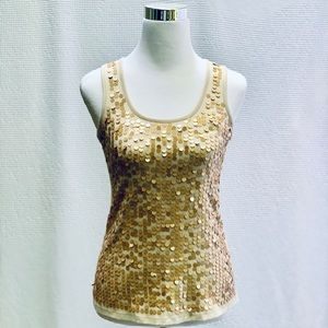"""Eyeshadow"" Gold Sequin Soft Racer Back Tank, Sz S"